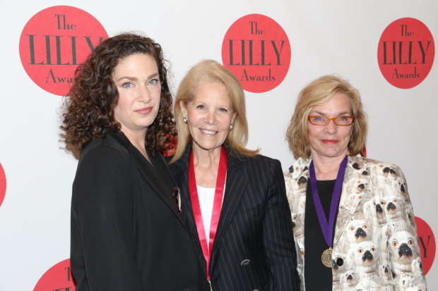<p>Julia Jordan (left) and Marsha Norman (right) help Daryl Roth announce the Daryl Roth Creative Spirit Award for women in tech or design.</p><br />(© David Gordon)