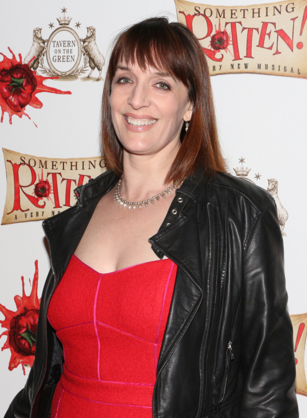 <p>Julia Murney arrives to cheer on her friend and <em>Something Rotten!</em> ensemble player Michael James Scott.</p><br />(© David Gordon)