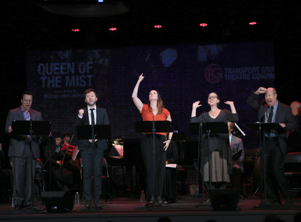 <p>Julia Murney (center) leads the company in a number from <em>Queen of the Mist</em>.</p><br />(© Tricia Baron)