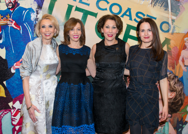 <p>Julie Halston, Maddie Corman, Randy Graff, and Elizabeth Reaser celebrate their opening night.</p><br />(© Allison Stock)