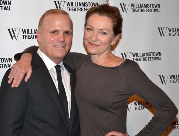 <p>Julie White, who hosted the event, hugs her <em>Little Dog Laughed</em> director, the evening&#39&#x3B;s honoree, Scott Ellis.</p><br />(© David Gordon)