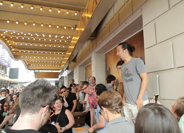 <p>July 13, 2015: <em>Hamilton</em> begins previews on Broadway, as does the #Ham4Ham $10 ticket lottery. The crowd nearly shuts down West 46th Street.</p><br />(© Seth Walters)