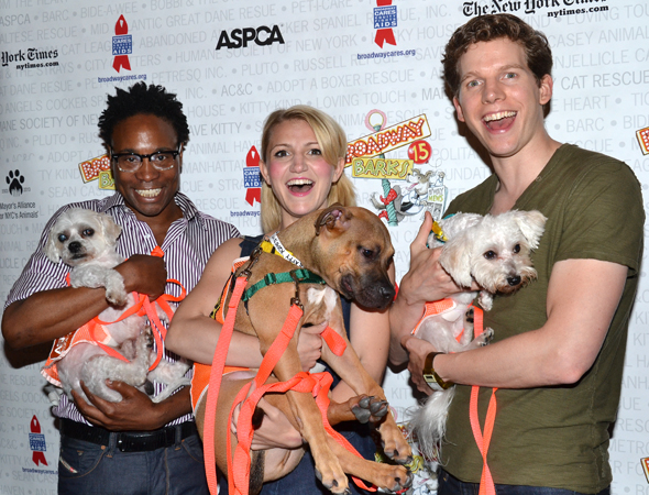 <p>July 13: <em>Kinky Boots</em> stars Billy Porter, Annaleigh Ashford, and Stark Sands make some furry friends at the 15th annual Broadway Barks pet adopt-a-thon in Shubert Alley.</p><br />(© David Gordon)