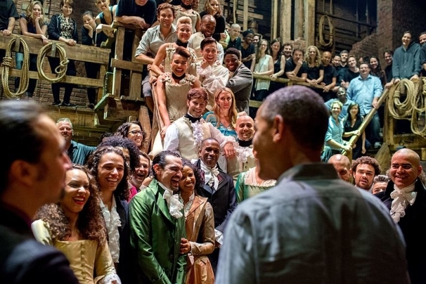 <p>July 18, 2015: President Barack Obama sees the Broadway production of <em>Hamilton</em> at the Richard Rodgers Theatre.</p><br />(Official White House photograph by Pete Souza)