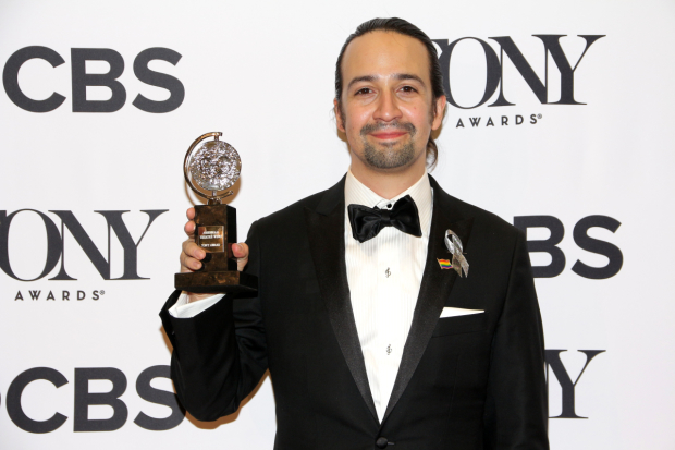 <p>June 12, 2016: <em>Hamilton</em> takes home 11 Tony Awards, including Best Book and Best Score for its author.</p><br />(© David Gordon)