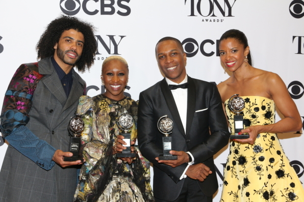 <p>June 12, 2016: History is made as all four musical acting Tony Awards are won by actors of color, including Daveed Diggs, Cynthia Erivo, Odom, and Goldsberry.</p><br />(© David Gordon)