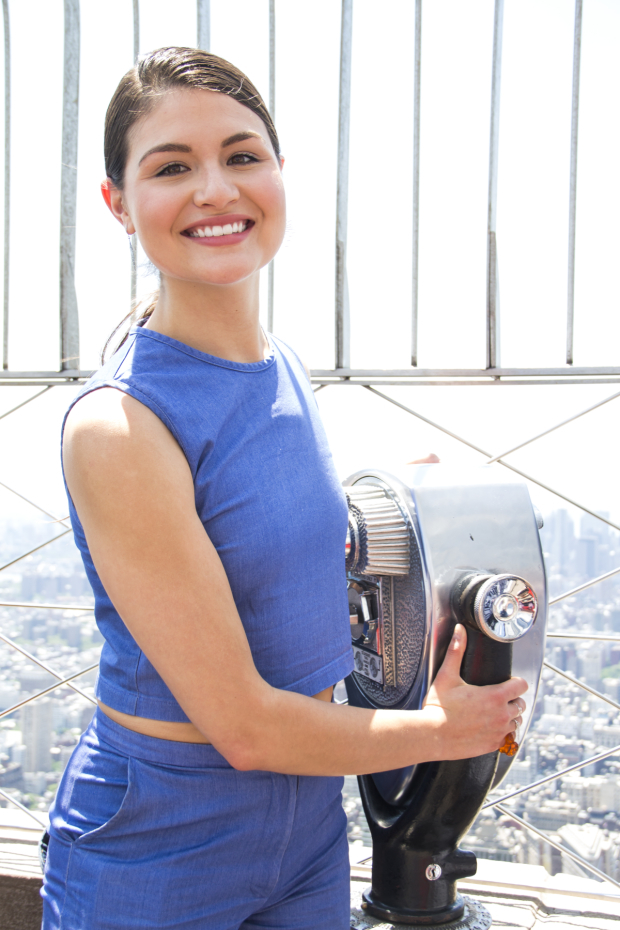<p>June 7, 2016: 2016 Tony nominee Soo helps light the Empire State Building.</p><br />(© David Gordon)