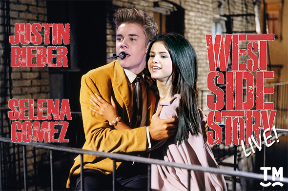 <p><strong>Justin Bieber and Selena Gomez in <em>West Side Story</em> </strong><br/>