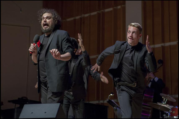 <p>Justin Sayre is joined by dancers during the concert.</p><br />(© Christopher Gagliardi)