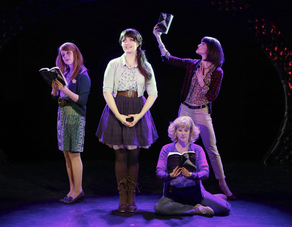 <p>Kaitlyn Frotton, Amber Petty, Chloe Williamson, and Ashley Ward share the stage.</p><br />(© Carol Rosegg)