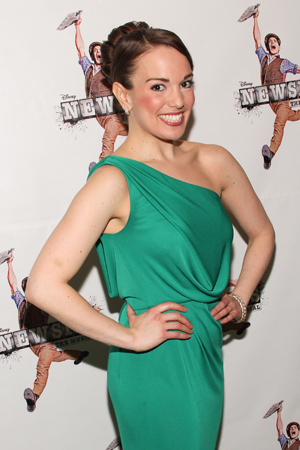 <p>Kara Lindsay dons her opening-night finest as <em>Newsies</em> officially celebrates its Broadway run on March 29, 2012.</p><br />(© Tristan Fuge)