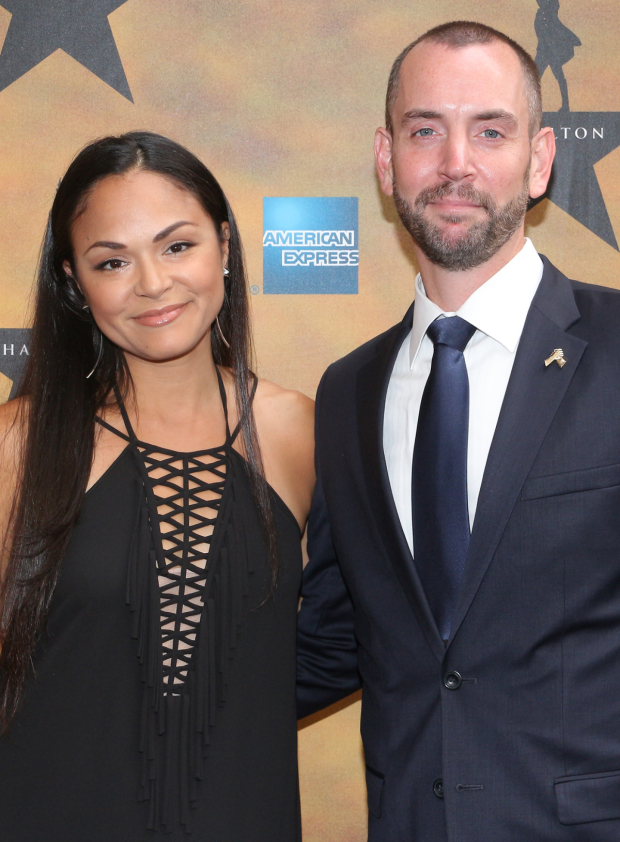 <p>Tony winner and <em>In the Heights</em> leading lady Karen Olivo walks the red carpet with her husband James on her arm.</p><br />(© David Gordon)