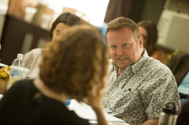 <p>Edmund Lewis at the table read.</p><br />(© Jeremy Daniel)