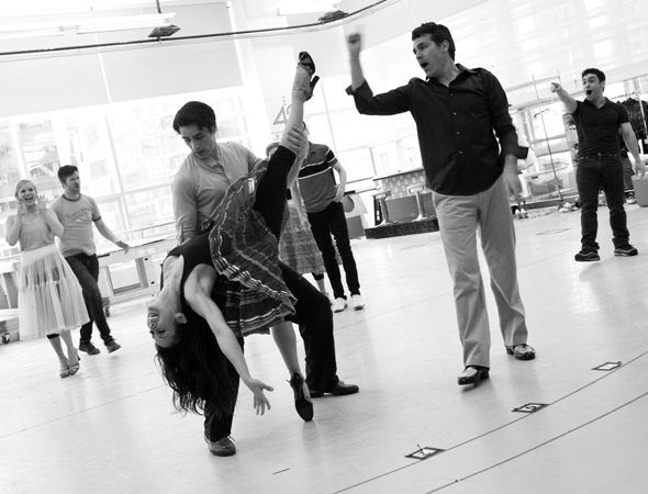 <p>Kat Nejat as Cha-Cha, Bobby Conte Thornton as Danny Zuko, and Joe Sorge as Vince Fontaine rehearse &quot&#x3B;Born to Hand Jive.&quot&#x3B;</p><br />(© David Gordon)