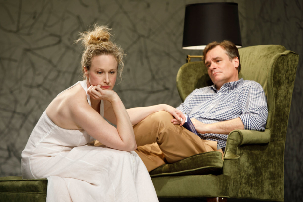 <p>Katie Finneran and Robert Sean Leonard in a scene from <em>Homelife</em>, Act 1 of <em>At Home at the Zoo</em>.</p><br />(© Joan Marcus)