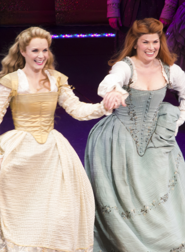 <p>Kate Reinders and Heidi Blickenstaff run out for their curtain call.</p><br />(© David Gordon)