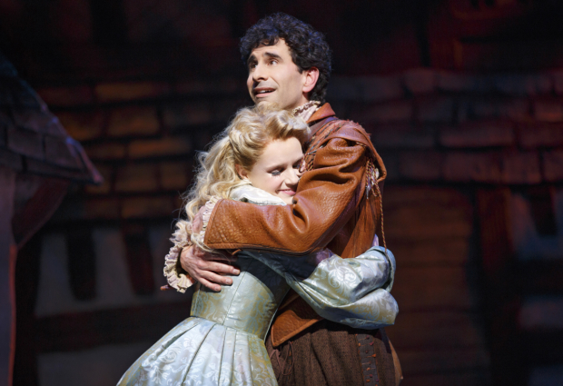 <p>Kate Reinders and John Cariani share a tender moment in <em>Something Rotten!</em></p><br />(© Joan Marcus)