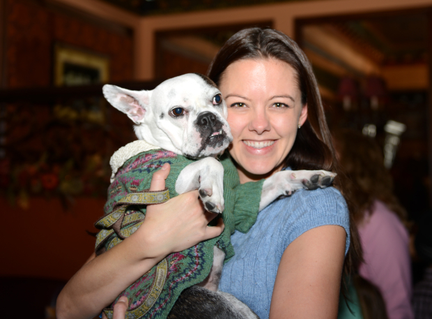 <p>Kate Rockwell and Mabel take a family photo.</p><br />(© Allison Stock)