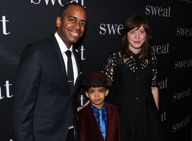 <p>Kate Whoriskey celebrates her opening night with her husband, upcoming Chicago <em>Hamilton</em> star Daniel Breaker, and their son, by her side.</p><br />(© David Gordon)