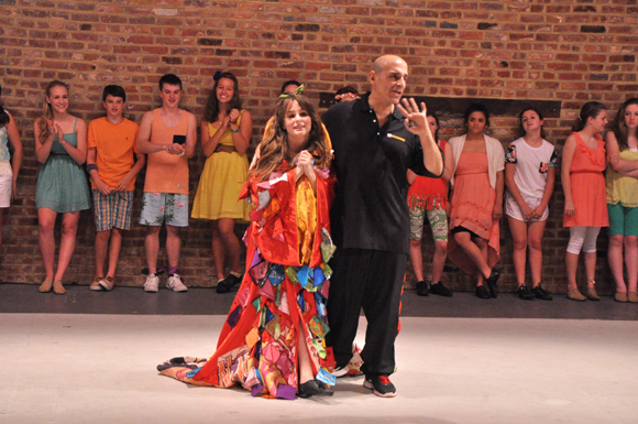 <p>Katie Powers with Camp Broadway director Jonathan Cerullo during the annual robe ceremony, based on Broadway&#39&#x3B;s Gypsy Robe tradition.</p><br />(© Genevieve Rafter Keddy)