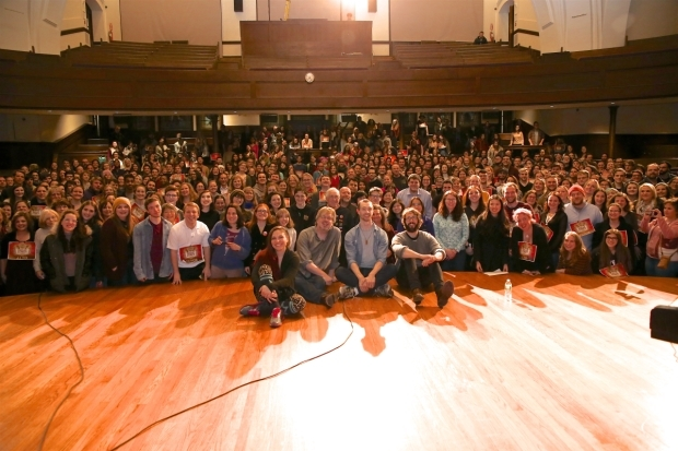 <p>Katrina Yaukey, Dave Malloy, Alex Gibson, and Josh Groban pose for a photo with the many fans who participated.</p><br />(© Tricia Baron)