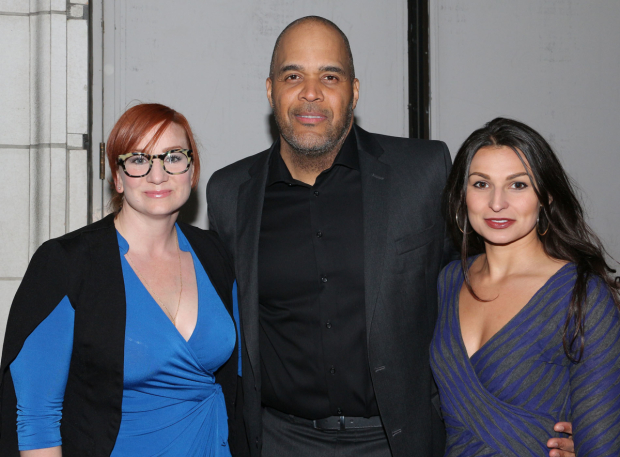 <p>Katy Sullivan, Victor Williams, and Martyna Majok stopped for a photo.</p><br />(© David Gordon)