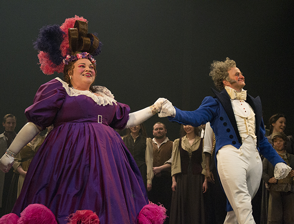 <p>Keala Settle and Cliff Saunders (the Thénardiers) come out for a curtain call.</p><br />(© David Gordon)