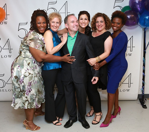 <p>Kecia Lewis, Liz Callaway, Stephen Flaherty Stephanie J. Block, Mary Testa, and LaChanze backstage at 54 Below.</p><br />(© Robin Marchant/Getty Images for 54 Below)