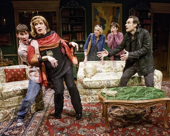 <p>Keira Keeley, Charles Busch, Julie Halston, Mary Bacon, and Jonathan Walker in a comic scene in <em>The Tribute Artist</em>.</p><br />(© James Leynse)