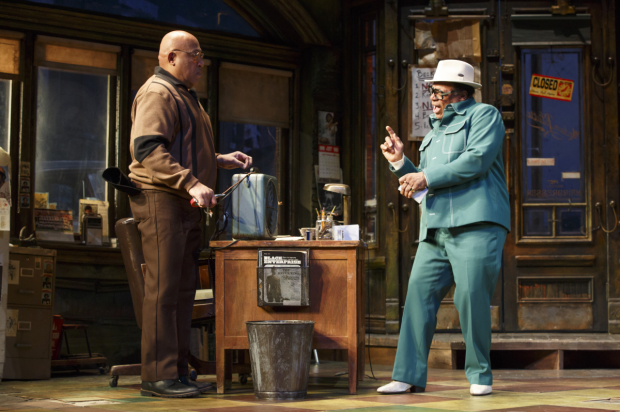 <p>Keith Randolph Smith as Doub and Harvy Blanks as Shealy in <em>August Wilson&#39&#x3B;s Jitney</em>, directed by Ruben Santiago-Hudson.</p><br />(© Joan Marcus)