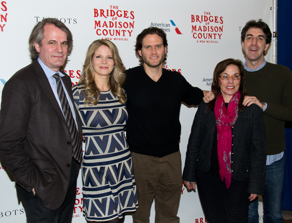 <p>Kelli O&#39&#x3B;Hara and Steven Pasquale (center) join director Bartlett Sher (left), and writers Marsha Norman and Jason Robert Brown (right) for a family photo.</p><br />(© David Gordon)