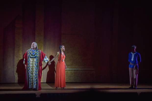 <p>Ken Page, Michelle Williams, and Wonza Johnson in a scene together.</p><br />(courtesy of The Muny)