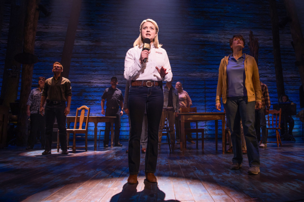 <p>Kendra Kassebaum stands center in the spotlight.</p><br />(© Matthew Murphy)