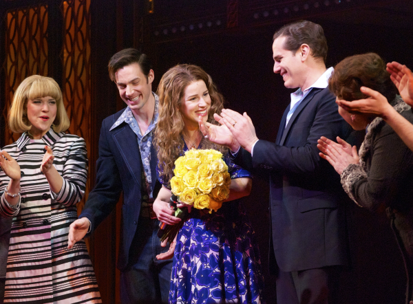<p>Kennedy gets flowers upon making her debut as Carole King.</p><br />(© Kristin Goehring)