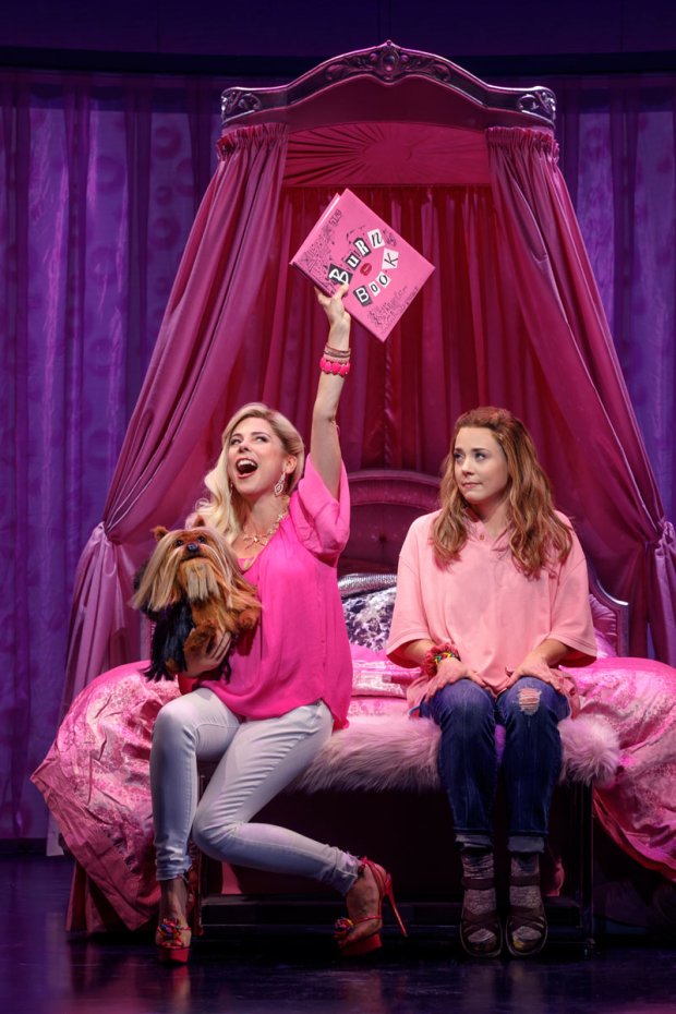 <p>Kerry Butler holds the infamous Burn Book as Erika Henningsen looks on.</p><br />(© Joan Marcus)