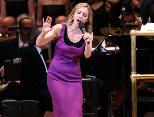 <p>Kerry Butler sings her section of &quot&#x3B;You Can&#39&#x3B;t Stop the Beat.&quot&#x3B;</p><br />(© David Gordon)
