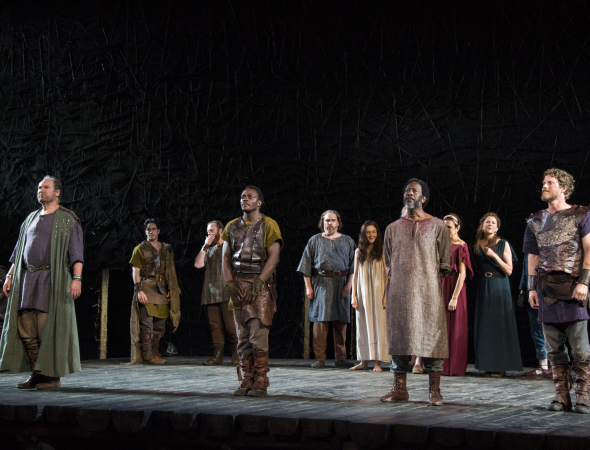 <p><em>King Lear</em> men Jay O. Sanders, Chukwudi Iwuji, Clarke Peters, and Eric Sheffer Stevens come front and center.</p><br />(© David Gordon)