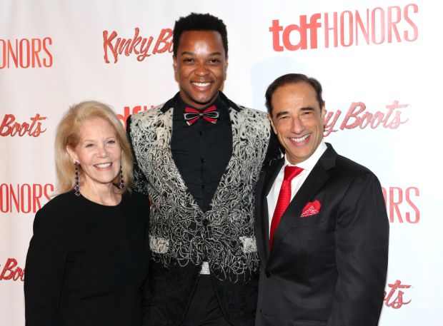 <p><em>Kinky Boots</em> producers Daryl Roth (left) and Hal Luftig (right) pose with current leading man J. Harrison Ghee.</p><br />(© David Gordon)