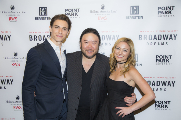 <p>Klena and Altomare pose with Broadway Dreams vet Stafford Arima, who directed the pair in <em>Carrie the Musical</em>.</p><br />(© Peter Roessler)