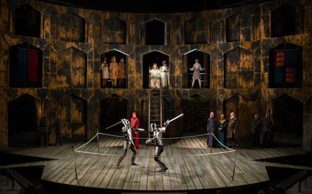 <p>Knights duel in <em>Richard II</em>.</p><br />(© Jim Cox)