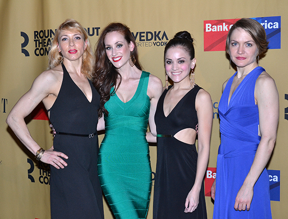 <p>Kristin Olness, Kaleigh Cronin, Andrea Goss, and Jane Pfitsch are four of the show&#39&#x3B;s Kit Kat Klub girls.</p><br />(© David Gordon)