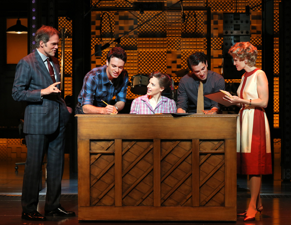 <p>L-R: Jeb Brown as Don Kirshner, Jake Epstein as Gerry Goffin, Jessie Mueller as Carole King, Jarrod Spector as Barry Mann, and Anika Larsen as Cynthia Weil</p><br />(© Joan Marcus)