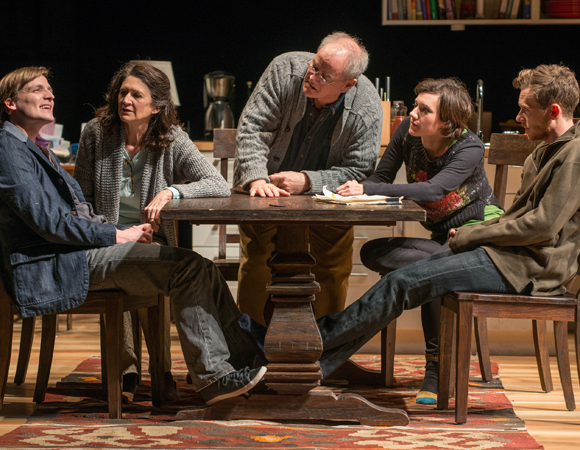 <p>(L to R): Billy (John McGinty), Beth (Molly Regan), Christopher (Francis Guinan), Ruth (Helen Sadler), and Daniel (Steve Haggard) gather at the dinner table.</p><br />(© BROSILOW)