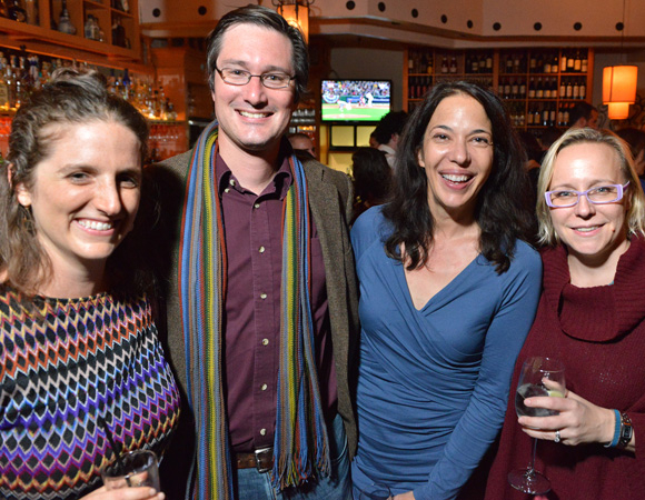 <p>(L to R): Huntington Playwright Fellow Lila Rose Kaplan, her husband Jarrett Byrnes, Huntington Playwright in Residence Melinda Lopez, and Director of New Work Lisa Timmel support their Boston comrades.</p><br />(© Josh Reynolds)