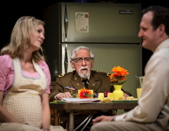 <p>L to R: Katherine Keberlein (Violet), Mike Nussbaum (Colonel), and Eric Slater (Daniel)</p><br />(© Liz Lauren)