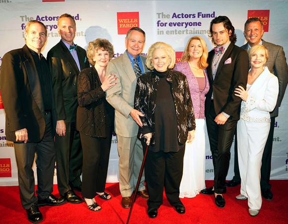 <p>L.A. Tony Party production members Don Hill, Luke Yankee, Jomarie Ward, John Holly, Barbara Cook, Meg Thomas, Constantine Maroulis, Keith McNutt, and Florence Henderson.</p><br />(© Nina Prommer/Milestone Photos)
