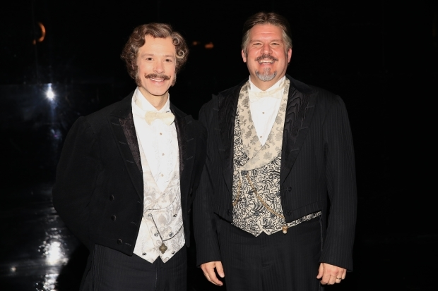 <p>Laird Mackintosh and Craig Bennett as Monsieur André and Monsieur Firmin.</p><br />(© Tricia Baron)