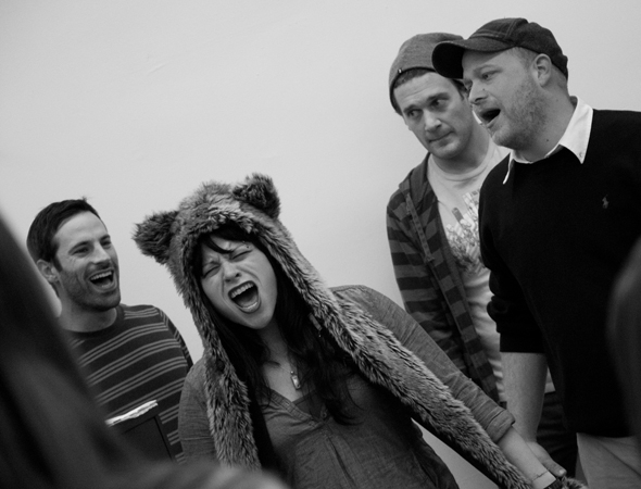 <p>Lance Rubin, Katrina Rose Dideriksen, Eric William Marcus, and Jason &quot&#x3B;SweetTooth&quot&#x3B; Williams give rehearsal their all — and then some.</p><br />(© David Gordon)