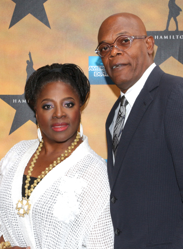 <p>LaTanya Richardson Jackson and Samuel L. Jackson share an evening with Alexander Hamilton at the theater.</p><br />(© David Gordon)