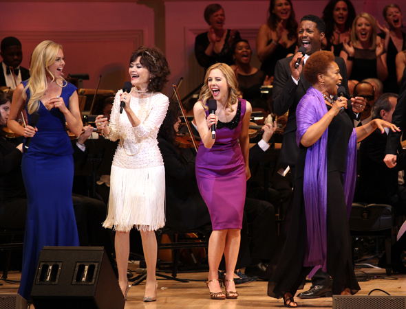 <p>Laura Bell Bundy, Linda Hart, Kerry Butler, and Jenifer Lewis rock out onstage.</p><br />(© David Gordon)